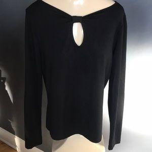Anne Klein black stretch keyhole neckline top, S